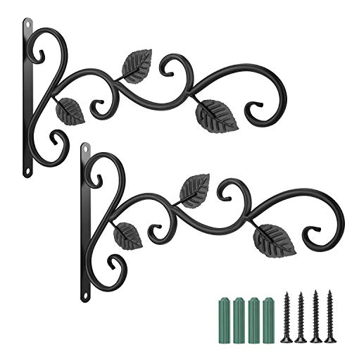 Wall Hook Hanging Plant Bracket - 2 Pack 11.8 inches Iron Hanging Hooks Screws Included, Decorative Plant Hanger for Bird Feeders, Planters, Lanterns, Wind Chimes, Indoor Outdoor Rustic Home Decor