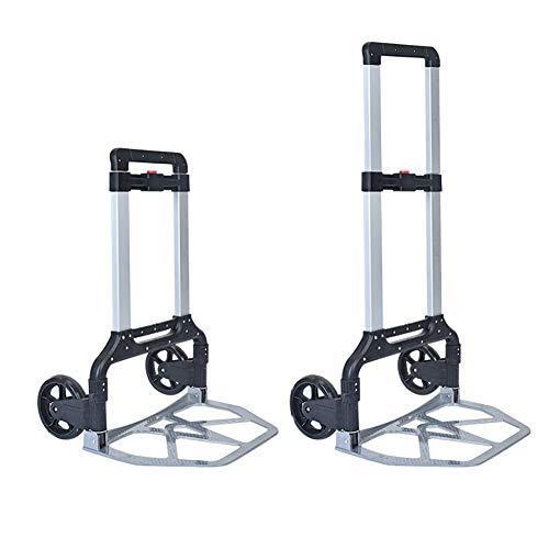 Carretilla plegable portátil con 2 ruedas, carro de equipaje plano con capacidad...
