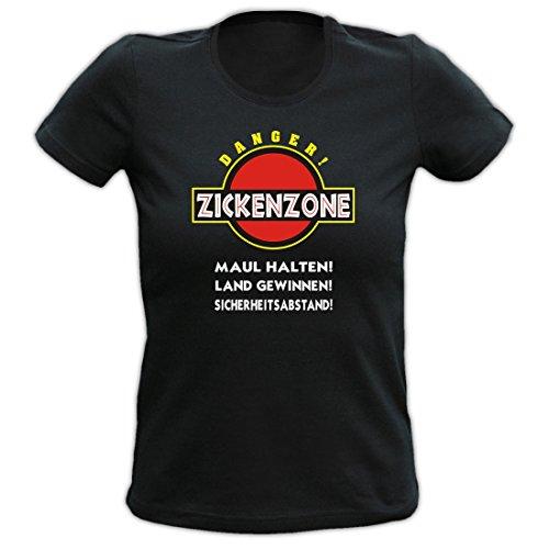 Modicana® Ladyshirt - Zickenzone - Lustiges Fun Shirt für Damen Zicke, Größe:S
