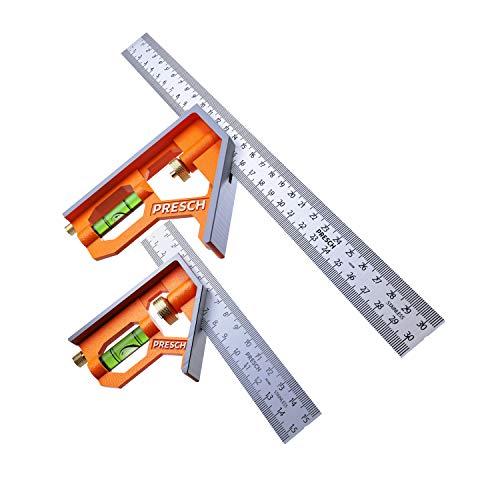Presch Set de Escuadras Combinadas 150mm y 300mm - Métricas - Dos Escuadras Metalicas Precisas Universales con Tope de Regla - Herramienta de Medición Profesional de Alta Calidad