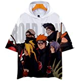 Naruto Cosplay Sudadera con Capucha de Manga Corta Video Juego Aficionados T-Shirt Pop Anime Logo Camiseta tee Tops Regalo hacia Hombre Mujer Niño Niña,Blanco,XL