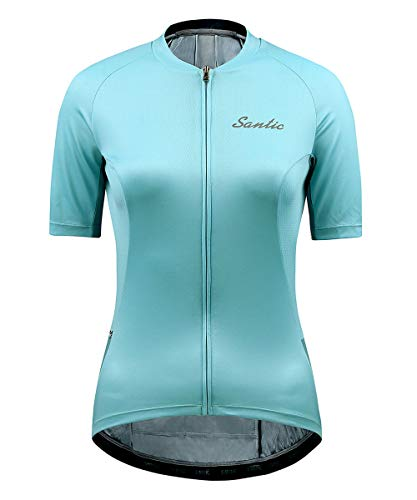 Santic Maillots Ciclismo Mujer Manga Corta Bicicleta Camiseta Jersey Tops Bolsillos Cremallera Transpirable Verano Azul M