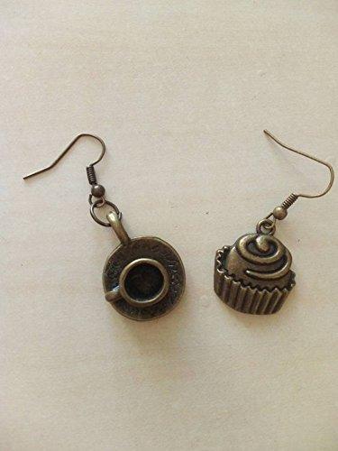 regalo di natale orecchini tea time ora del té caffè tazzina cupcake muffin dolcetto dolcino vintage bronzo romantici colazione merenda