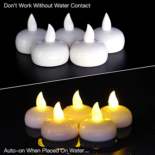 Novelty Place LED Floating Candles, Flameless Tea Lights Warm Yellow Battery Operated - Waterproof Decoration for Wedding, Thanksgiving   , Christmas, Birthday Party (12 Packs)