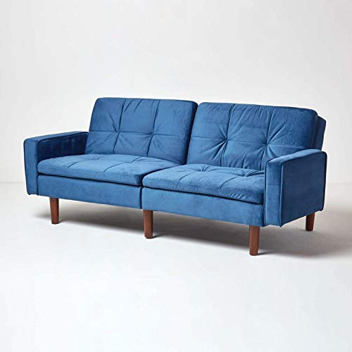 HOMESCAPES Velvet Sofa Bed Navy Blue 3 Seater Sofa with Armrests Click Clack Bed Sleeper Retro Range 'Murphy' Bed Settee on Wooden Legs for Study Guest and Living Room