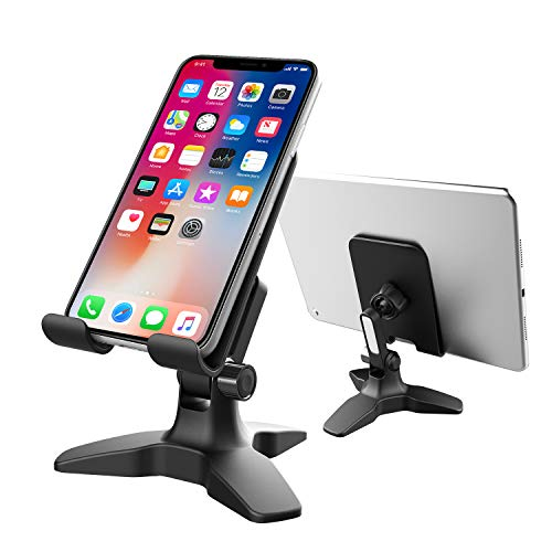 Cell Phone Stand, Adjustable Phone Holder for Desk, Heavy Duty Cell Phone Holder for Home Office, Desktop Phone Holder Mount for iPhone, iPad, Tablet and All 4-13 Inches Smartphones -Black