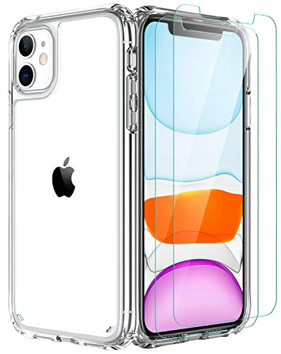 iPhone 11 Case,[Airbag Series] with [2 x Tempered Glass Screen Protector] [ Military Grade ] | 15Ft. Drop Tested [Scratch-Resistant] | Wireless Charging | for Apple iPhone 11 6.1 Inc- Clear