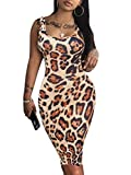 LAGSHIAN Women's Sexy Bodycon Tank Dress Sleeveless Basic Midi Club Dresses Leopard