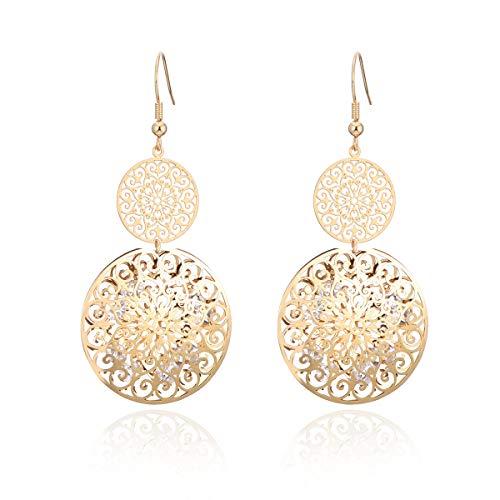 Pendientes colgantes para mujer con incrustaciones de oro y plata chapados en oro y cristal de circonita cúbica brillante Placcato Oro