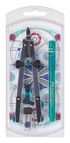 Faber-Castell 174030 - Schnellverstellzirkel-Set, mit abknickbaren Schenkel, türkis