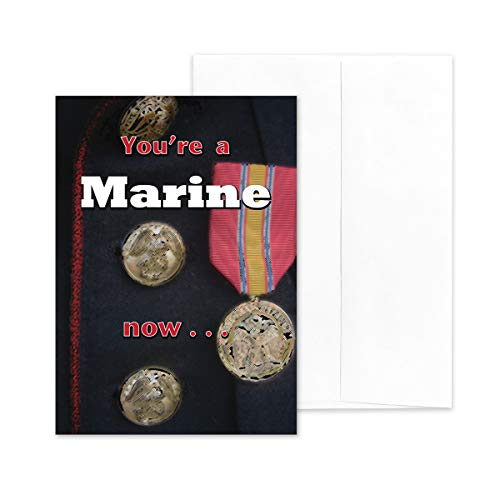 "2MyHero - US Marine Corps - Enlisted Military Boot Camp Graduation Congratulations Greeting Card With Envelope - 5"" x 7"" - A Marine Now"