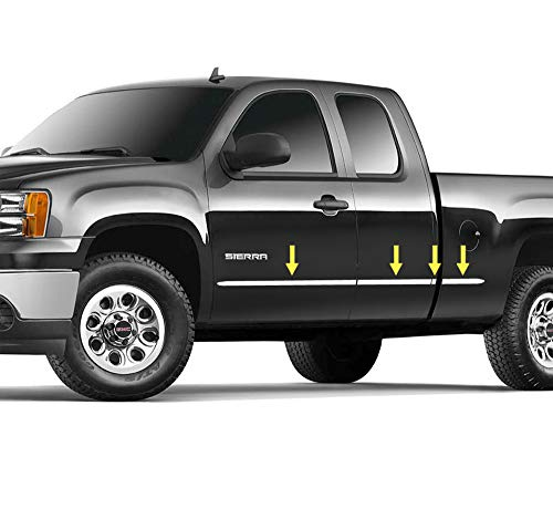 Made in USA! Compatible with 2007-2013 Chevy Silverado/GMC Sierra Extended Cab Short Bed Body Side Molding Trim 1.5' Wide 8PC