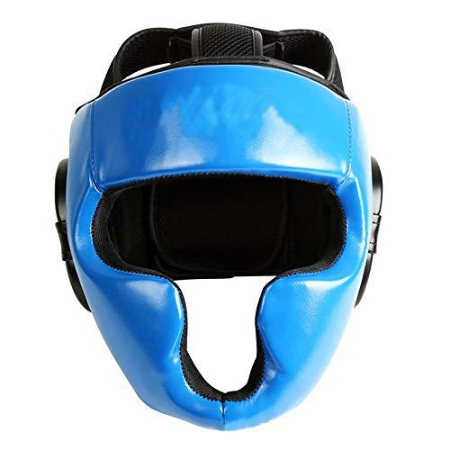 XJJ-Boxeo Cascos, Mejillas Y Protección contra El Oído, para Lucha, Muay Thai, Kickboxing, Karate Taekwondo, Artes Marciales,Azul,S/M
