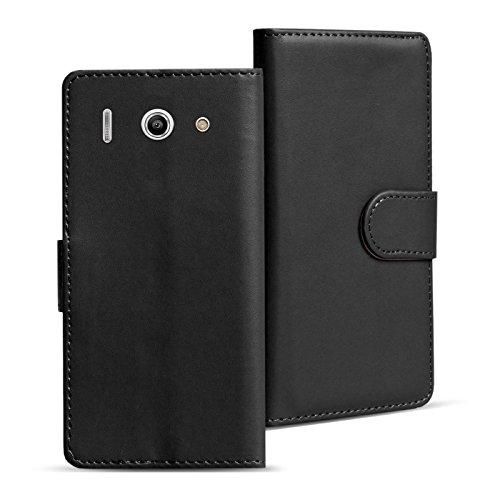 Verco Huawei Y300 Hülle, Handyhülle für Huawei Ascend Y300 Tasche PU Leder Flip Case Brieftasche - Schwarz