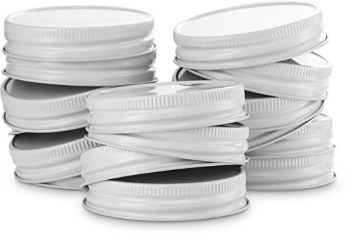Mason Jar Lids, by Kook, Regular Mouth, Continuous Thread, Set of 16, White