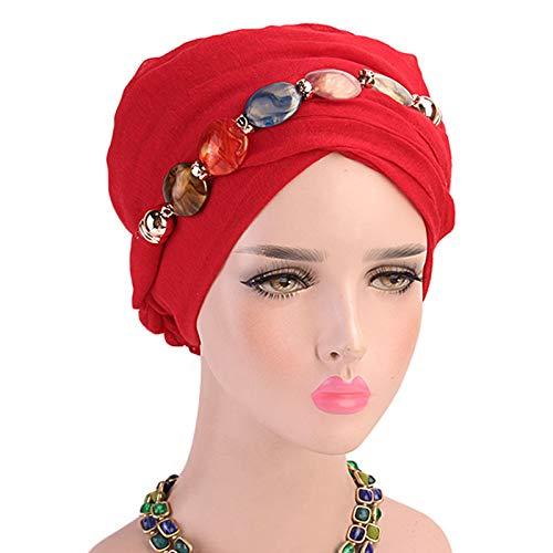 CAFFAINA Collar de joyería para Mujer Bufanda para la Cabeza de Gasa Mantón étnico Gorro de Turbante musulmán Hijab - Rojo