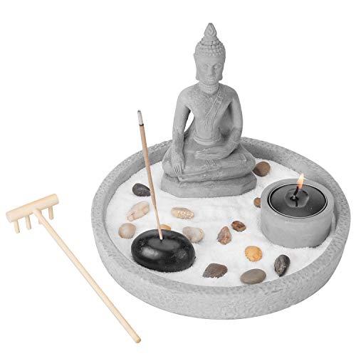 MyGift Buddha Statue Zen Garden Set with Sand, Rock & Rake, Incense & Tealight Candle Holder