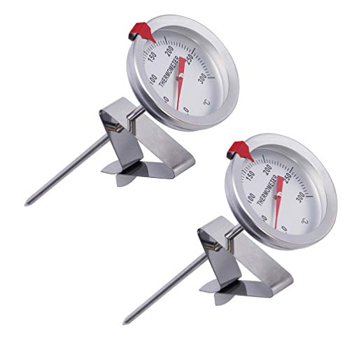 Hemoton 2pcs Deep Fry Thermometer With Instant Read Stainless Steel Stem Meat Cooking Thermometer with Clip Holder for Turkey BBQ Grill
