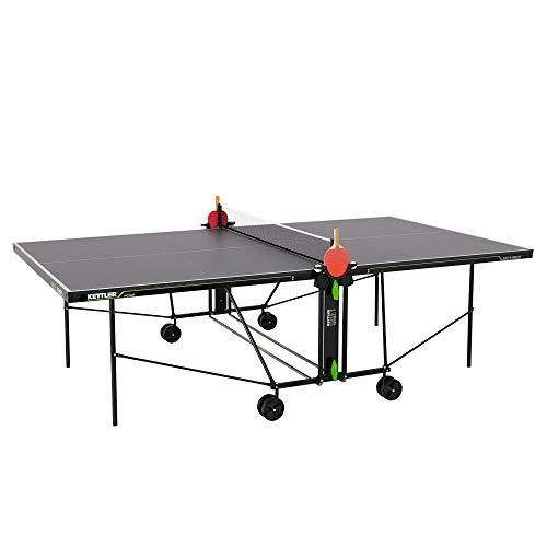 Kettler K1 Indoor, Tischtennisplatte, Turniermaße, robuste 16mm Feinspanplatte, Farbe grau, wetterfest, klappbar, TÜV geprüft, DIN EN 14468-1, Made in Germany