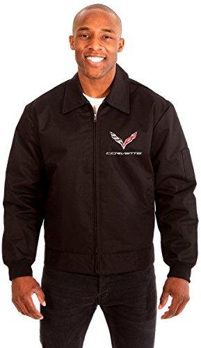 AFC Chevy Corvette Men's Mechanics Jacket with Front & Back Emblems (Large, Black)