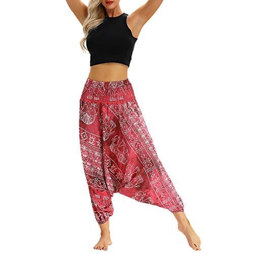 YWLINK 2019 Damen Kleidung,Frauen BeiläUfige Sommer Lose Yoga Hosen Elegant Baggy Boho Aladdin Overall Pluderhosen