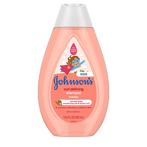 Johnson's Curl-Defining, Frizz Control, Tear-Free Kids' Shampoo with Shea Butter, Paraben-, Sulfate- & Dye-Free Formula, Hypoallergenic & Gentle for Toddler's Hair, 13.6 fl. oz