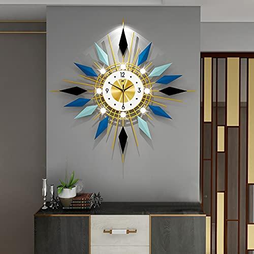 Reloj De Pared De Metal Del Siglo 21, Reloj De Decoración De Starburst Sandburst Grande Para La Oficina De La Sala De Estar De La Cocina Del Hogar,60x60cm