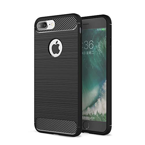 Zhuofan Plus iPhone 7 Plus/8 Plus Custodia, Soft Silicone TPU Fibre Carbon Texture Design Protettivo Assorbimento degli Urti Bumper AntiGraffio Brushed Cover per iPhone 7 Plus/8 Plus, Nero