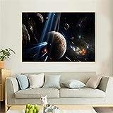 Lienzo Pintura Galaxia vía láctea Universo Espacio Estrellas póster Impresiones Pared Arte Pintura decoración del hogar Nebulosa Tierra Luna Nubes Imagen decoración