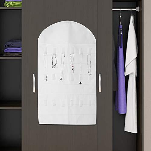 Foldable Jewelry Organizer, Transparent Plastic Pockets 32 Pockets Wall Bag, for Wall Closet Pole(white)