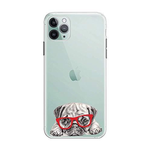 FancyHülle Kompatibel mit iPhone 12 (6,1 Zoll) Tiermuster Weiche Silikon Schutzhülle Transparent iPhone 12 Hülle (Mops mit Brille)