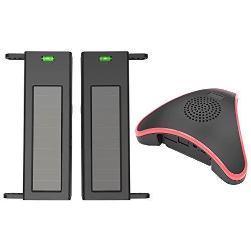 HTZSAFE Solar Wireless Driveway Alarm System- 1/4 Mile Long Transmission Range- 190 Feet Wide Sensor Range- No Wiring No Need Replace Battery- Outdoor Weatherproof DIY Security Perimeter Alert System