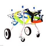 Knoijijuo Dog Rollstuhl Hunde-Rollstuhl/Hundscooter/Behinderten-Rollstuhl/Trainingsgerät zur Rehabilitation von Haustieren Einstellbarer,L