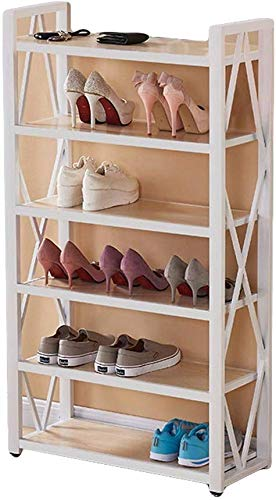 Houten schoenenrek schoenenrek meerlagige eenvoudige huis Foyer staal hout montage schoenenkast kast houten plank voor hal (kleur: Bruin maat: 64 * 25 * 130 cm) 64 * 25 * 130cm wit