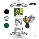 wildtier herz | Körner-Futterspender 26cm - Futtersäule für Vögel zum Aufhängen mit Edelstahl-Anflugplätzen, Futterstation zur ganzjährigen Wildvögel Fütterung (Silber)