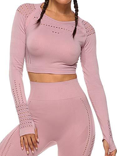 Tops Yoga Camiseta Deportiva Sin Costura Mangas Larga Fitness Mujer Gimnasio #2 Rosa Chica