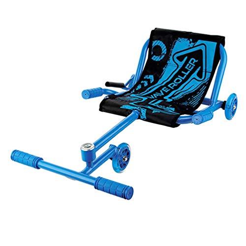 Off Road Suspension Go Kart Self Balancing Scooter Kids Ride en el Auto de Pedal con 3 Ruedas Luminosas y Palanca de Rueda Delantera Ajustable, Coche Swing para niños Regalo,Azul