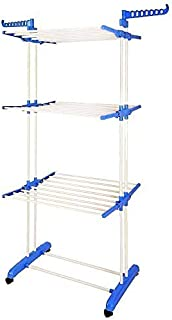BonBon 3 Tier Clothes Drying Rack Folding Laundry Dryer Hanger Compact Storage Steel Indoor Outdoor (Blue/White)