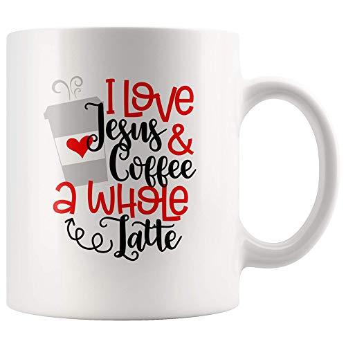 Amo a Jesús y café, una taza entera de café con leche para el amante cristiano de Jesús, regalo de la taza de café para amantes del café con leche, taza de té cristiana para amantes del café, 11 oz