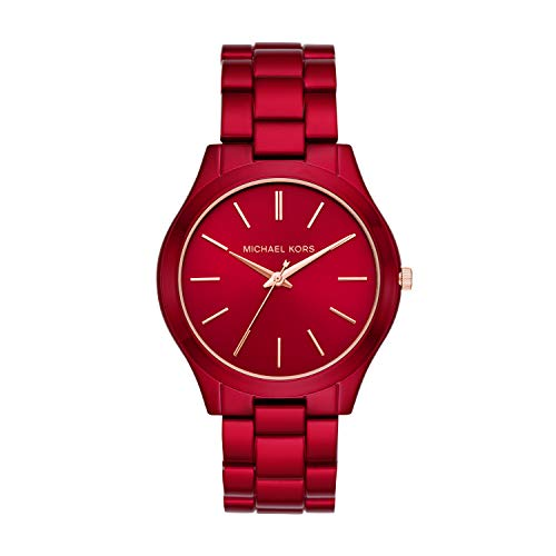 42mm case, 20mm band width, mineral crystal, Quartz movement with three hand analog display, imported Round stainless steel case, with a red dial Quartz Movement Case Diameter: 42mm Water resistant to 50m (165ft:  in general, suitable for short perio...