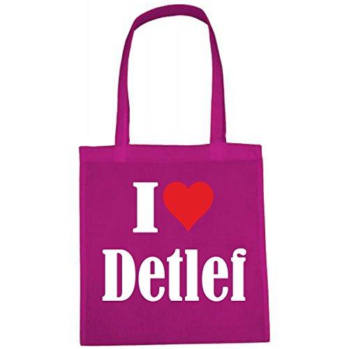 Tasche I Love Detlef Größe 38x42 Farbe Pink Druck Weiss