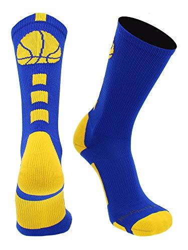MadSportsStuff Basketball Logo Athletic Crew Socks, Small - Royal/Gold