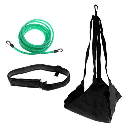 Herren Damen Schwimmtraining Kinder Wassertraining mit Bremsschirm und Elastikband Schwimmtrainer - Schwarz + Grün