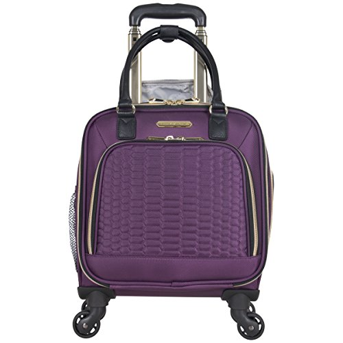 "Aimee Kestenberg Women's Florence 16"" Polyester Twill 4-Wheel Underseater Carry-on Luggage, Plum"