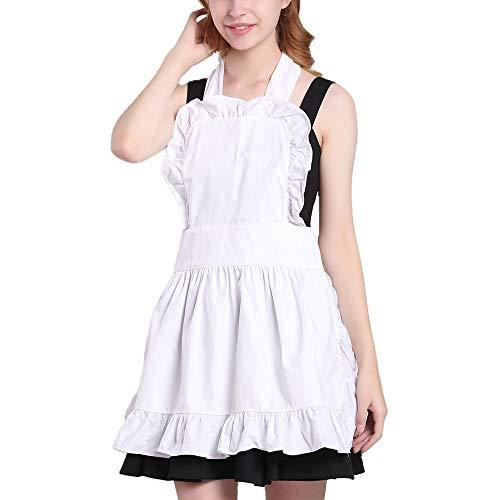 Women#039s Cute Cotton Lace Trim White Apron