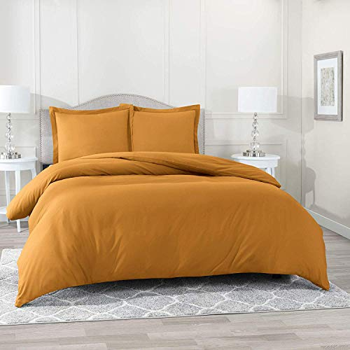 "Best Bedding Estilo Collection Solid 800 Series 7PC Organic Cotton Duvet Cover Set (Flat Sheet, Fitted Sheet, Duvet Cover, 4 Pillowcases) Deep Pocket fit Upto 21"", Gold/Mustard Yellow, Twin XL"