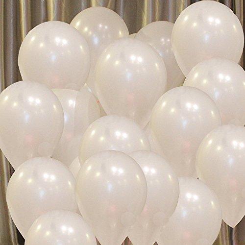 Vercrown 100 Piezas Blanco Globos de 10 Pulgadas 1.8g/pc Color Brillante Globos de látex para la Fiesta de cumpleaños del Aniversario de Boda