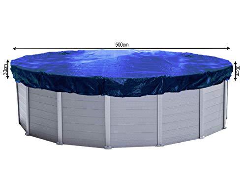 QUICK STAR Abdeckplane Pool Rund Planenmaß 560 cm. Passend für Poolgröße 460-500cm. Winterabdeckplane Poolabdeckung 200g/m² Blau