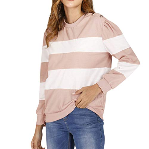 VECDUO Women's Sweatshirt, Casual Long Sleeve O-Neck Striped Printed Pullover Top Pink