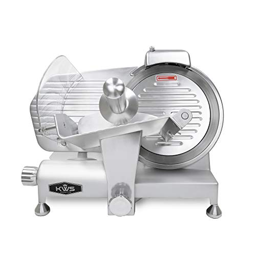 KWS MS-10ES All Metal 320W Electric Meat Slicer 10-Inch with 304 Stainless Steel Blade & Extended Back Space, Frozen Meat/Cheese/Food Slicer Low Noise Commercial and Home Use [ ETL, NSF Certified ]